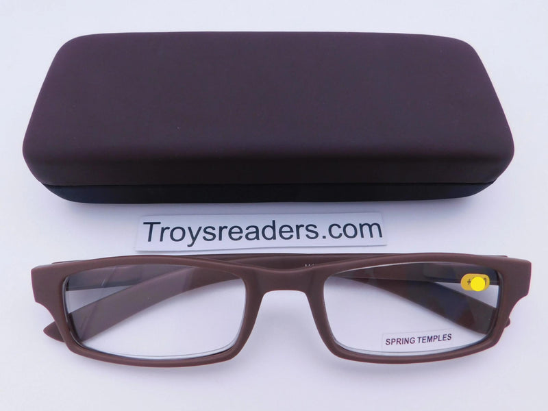 Soft Touch Stitched Readers With Case in Five Colors Reader with Display Brown +1.00