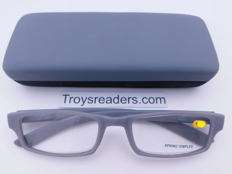 Soft Touch Stitched Readers With Case in Five Colors Reader with Display Gray +1.00
