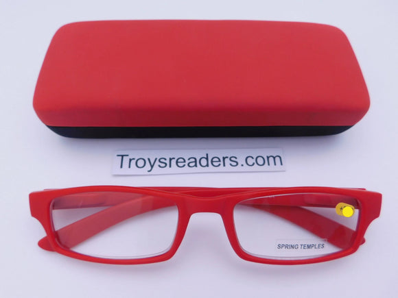 Soft Touch Stitched Readers With Case in Five Colors Reader with Display Red +1.00
