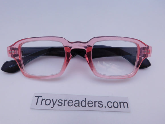 Square Readers in Three Colors Reader no Case Transparent Pink +1.50