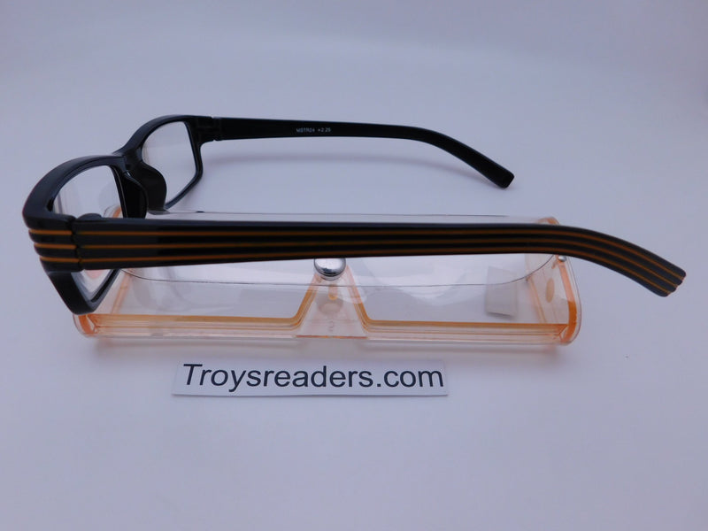 Striped Temple Readers With Case in Five Colors Reader with Display
