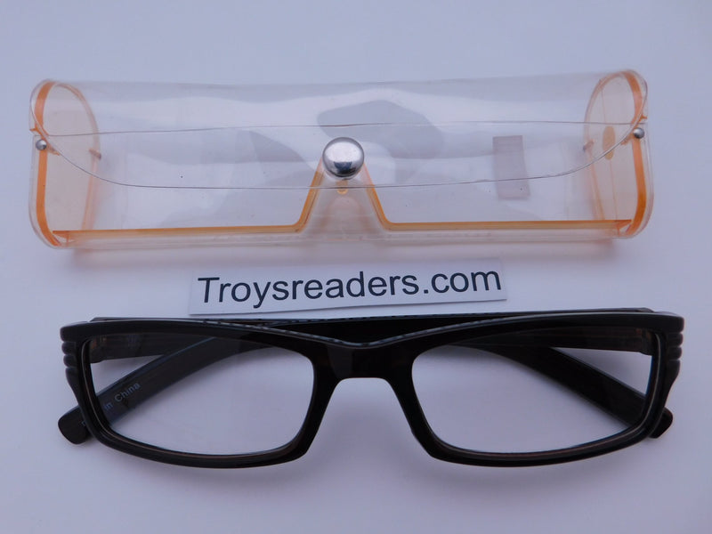 Striped Temple Readers With Case in Five Colors Reader with Display Amber +1.25