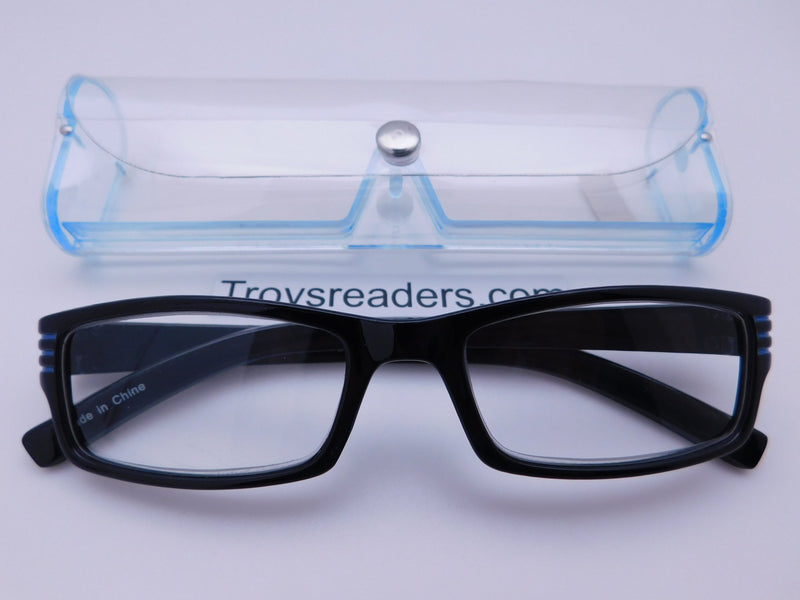 Striped Temple Readers With Case in Five Colors Reader with Display Blue +1.25