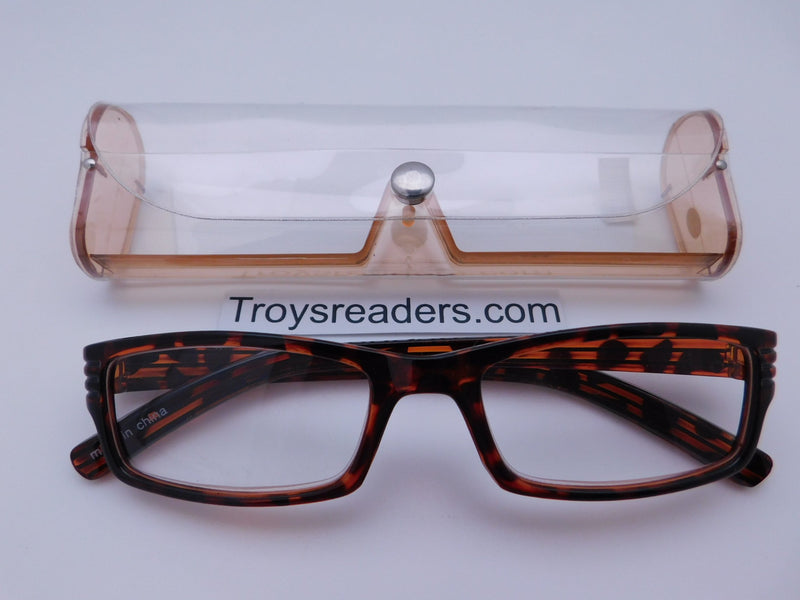 Striped Temple Readers With Case in Five Colors Reader with Display Tortoise +1.00