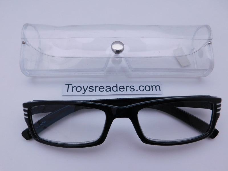 Striped Temple Readers With Case in Five Colors Reader with Display White +1.25