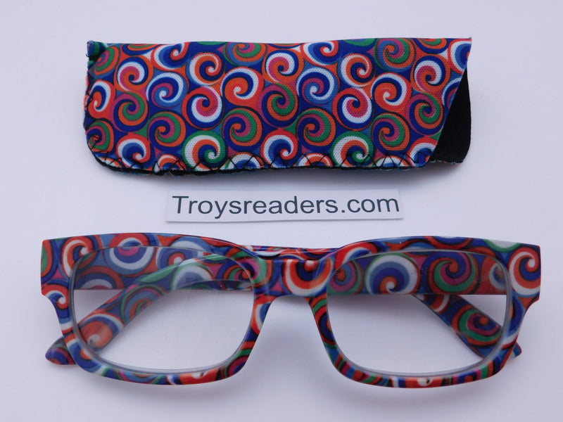Swirl Readers With Case in Three Colors Reader with Display Blue +1.25