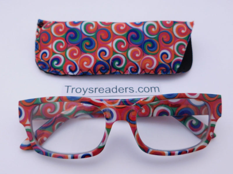 Swirl Readers With Case in Three Colors Reader with Display Red +1.25