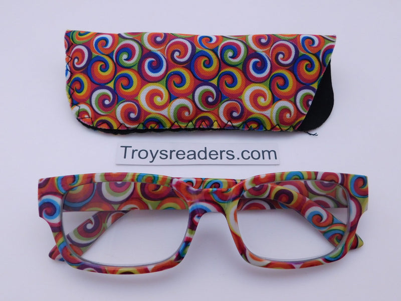 Swirl Readers With Case in Three Colors Reader with Display Yellow +1.00