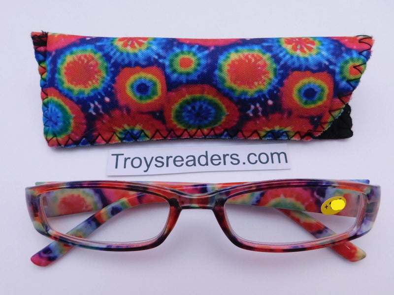 Tie Dye Readers With Case in Four Colors Reader with Display Circles +1.25