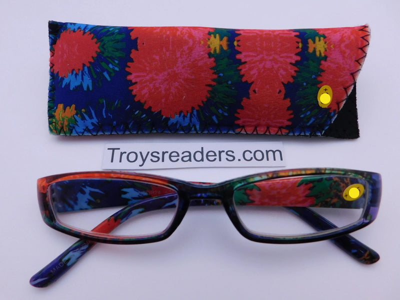 Tie Dye Readers With Case in Four Colors Reader with Display Fireworks +1.25