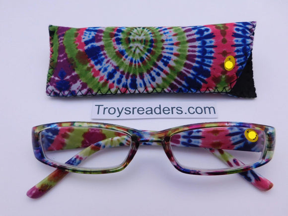 Tie Dye Readers With Case in Four Colors Reader with Display Spiral +1.25