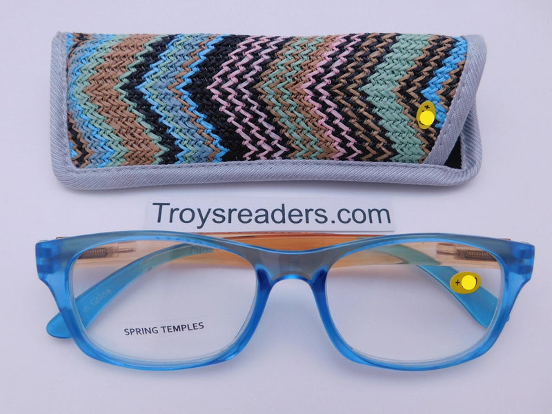 Translucent Island Readers With Case in Four Colors Reader with Display Blue +1.50