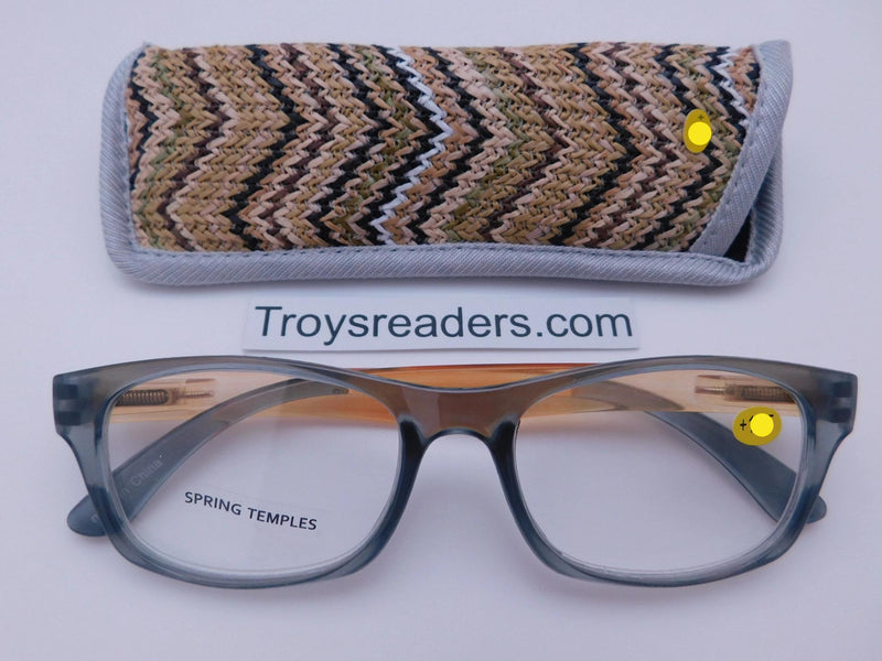 Translucent Island Readers With Case in Four Colors Reader with Display Gray +1.25