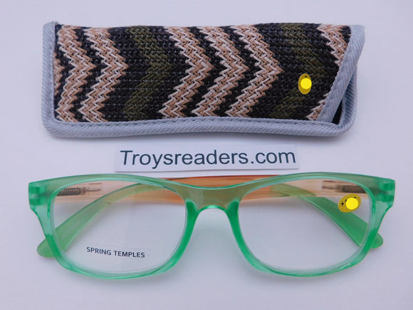 Translucent Island Readers With Case in Four Colors Reader with Display Green +1.25