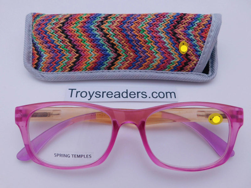 Translucent Island Readers With Case in Four Colors Reader with Display Pink +1.25