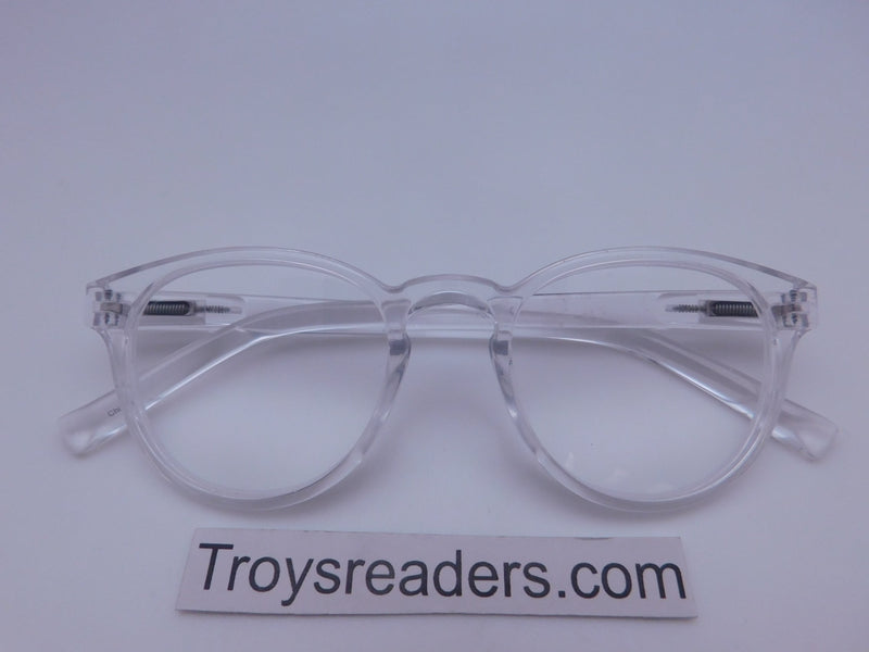 Translucent Round High Power Reading Glasses in Four Colors Reader no Case Clear +3.75