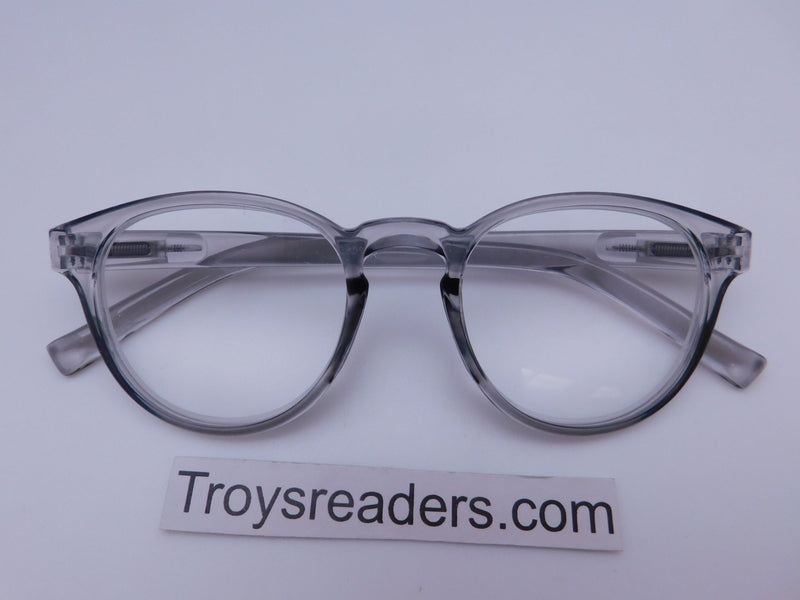 Translucent Round High Power Reading Glasses in Four Colors Reader no Case Translucent Gray +2.25