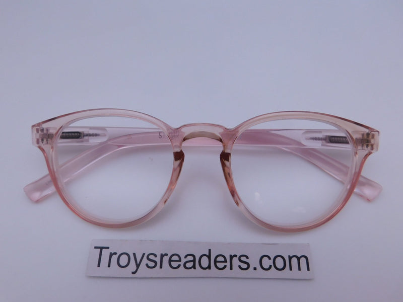 Translucent Round High Power Reading Glasses in Four Colors Reader no Case Translucent Pink +3.75