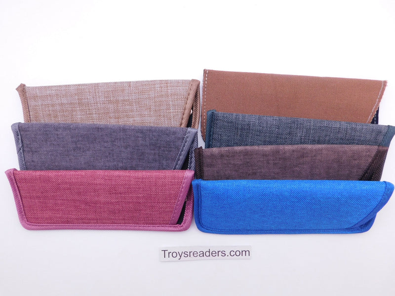 Trimmed Denim Fabric Glasses Sleeve/Pouch in Seven Colors Cases