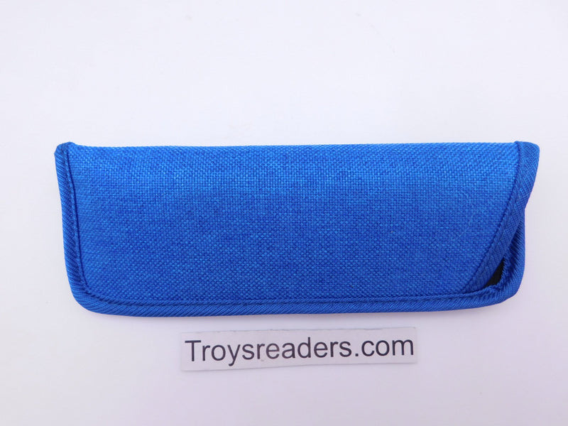 Trimmed Denim Fabric Glasses Sleeve/Pouch in Seven Colors Cases Blue