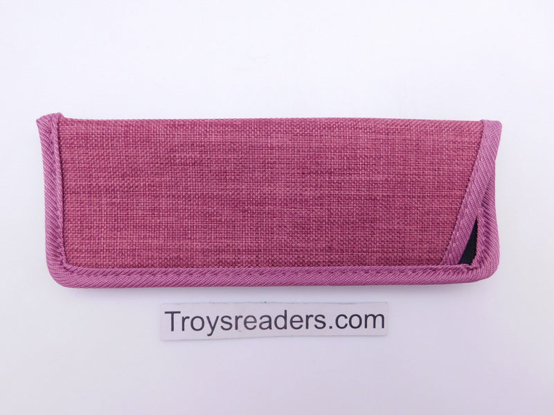 Trimmed Denim Fabric Glasses Sleeve/Pouch in Seven Colors Cases Fuchsia