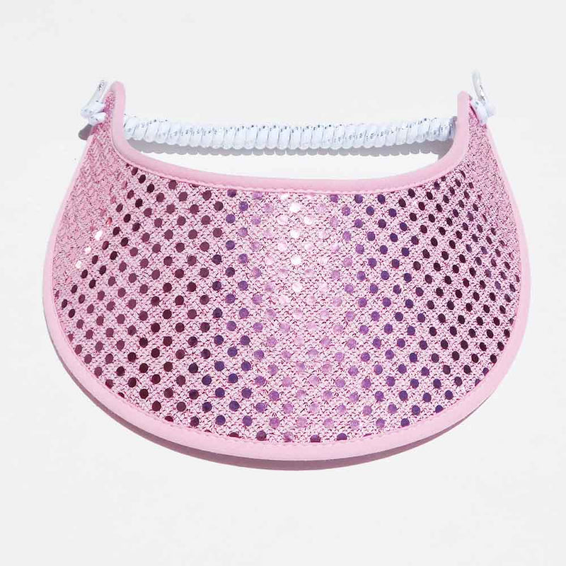 Trimmed Miracle Foam Sun Visor Light Pink Glitz Print Foam Visors