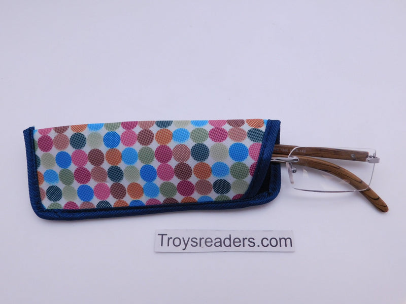 Trimmed Polkadot Glasses Sleeve/Pouch in Seven Designs Cases