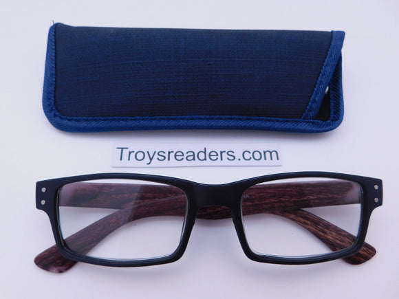 Urban Readers With Case in Three Colors Reader with Display Black w Blue Case +1.25