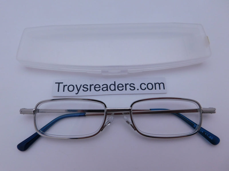 Very Slim Metal Readers In Four Colors Reader with Display Silver/Blue +1.50