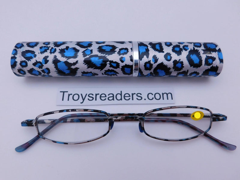 Wildlife Metal Tube Readers Twelve Colors Reader with Display Blue Cheetah +1.25
