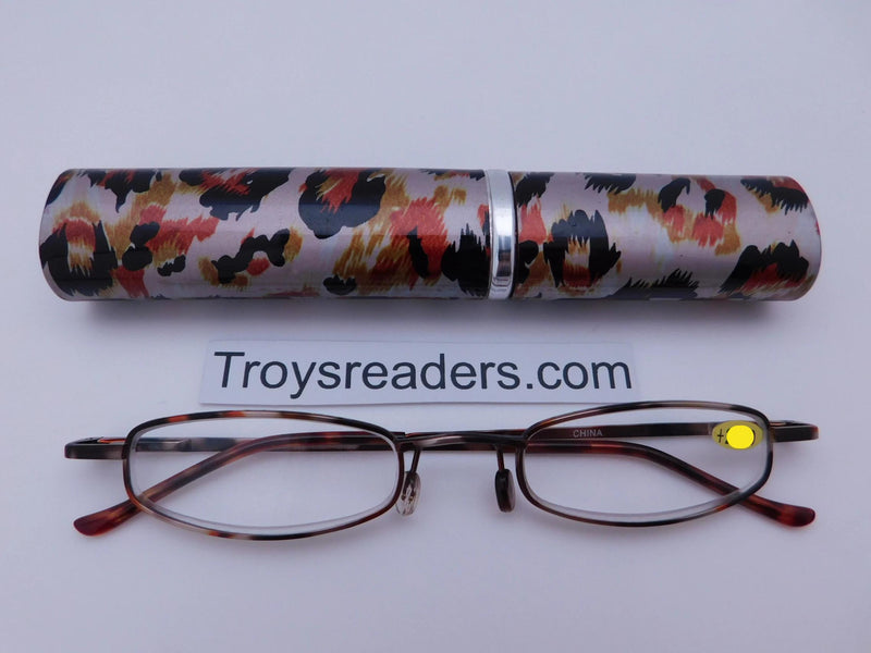 Wildlife Metal Tube Readers Twelve Colors Reader with Display Orange Cheetah +2.00