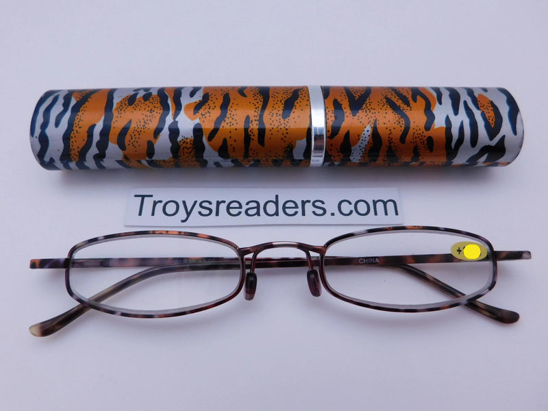 Wildlife Metal Tube Readers Twelve Colors Reader with Display Orange Tiger +2.00