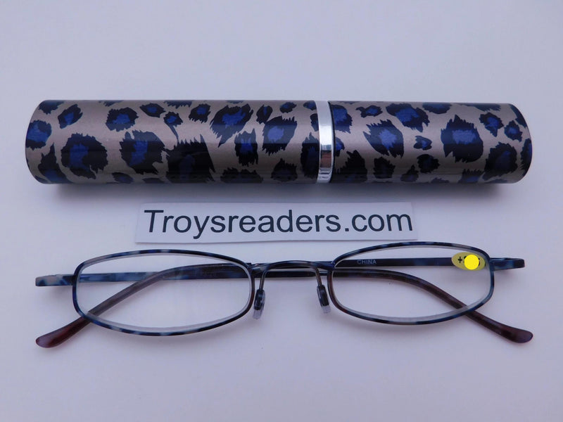 Wildlife Metal Tube Readers Twelve Colors Reader with Display Purple Cheetah +3.25