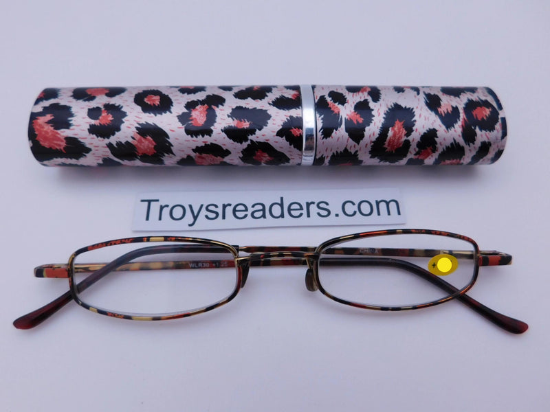Wildlife Metal Tube Readers Twelve Colors Reader with Display Red Cheetah +1.25