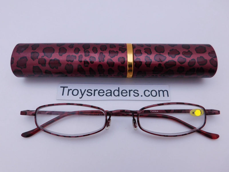 Wildlife Metal Tube Readers Twelve Colors Reader with Display Red Giraffe +3.25