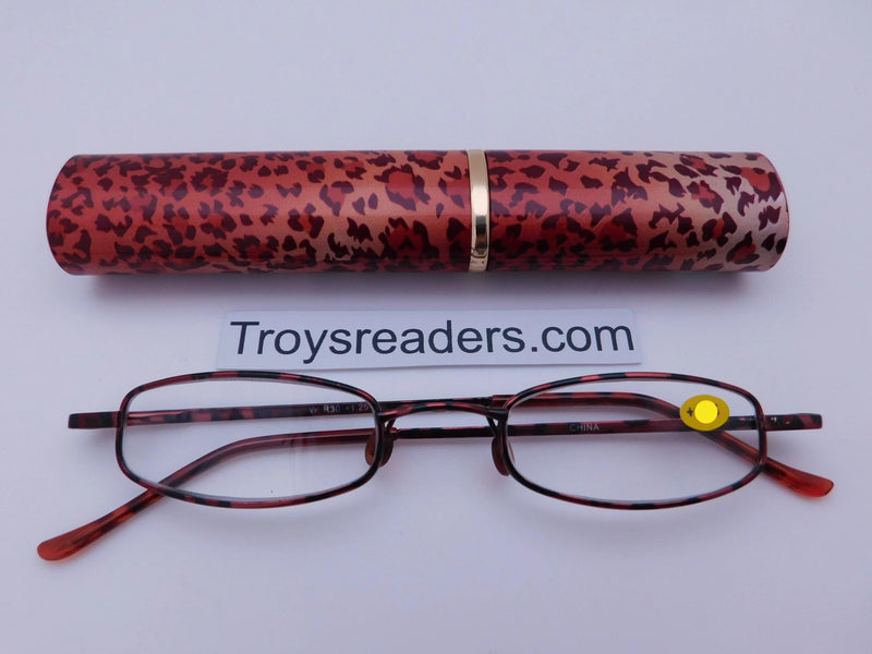 Wildlife Metal Tube Readers Twelve Colors Reader with Display Small Cheetah +1.25