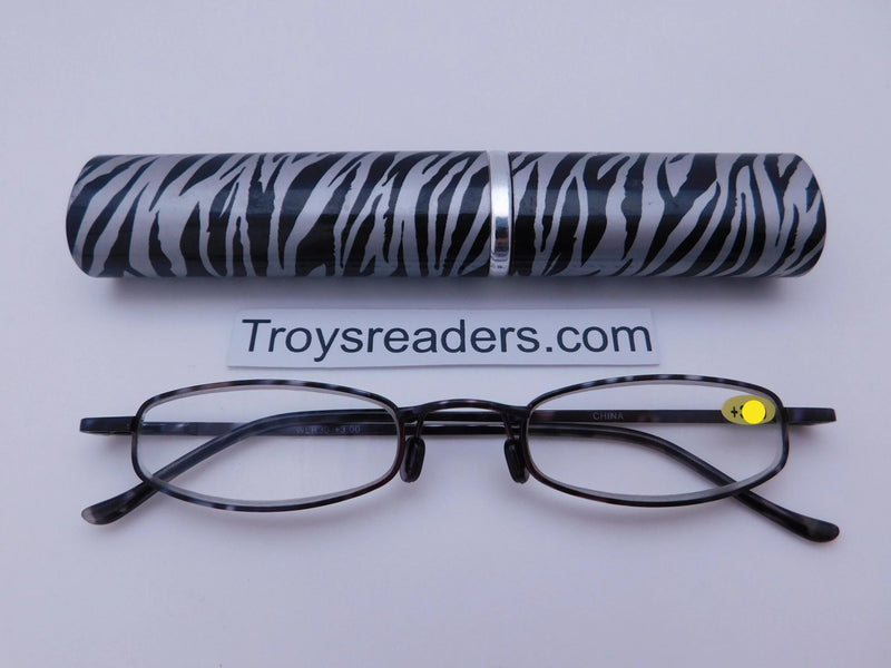 Wildlife Metal Tube Readers Twelve Colors Reader with Display Zebra +1.25