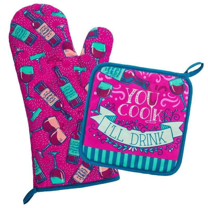 Wit! Oven Mitt and Pot Holder You Cook I'll Drink Pot holder/Oven mitt