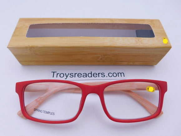 Wood Grain Print Readers With Case in Four Colors Reader with Display Red +1.25