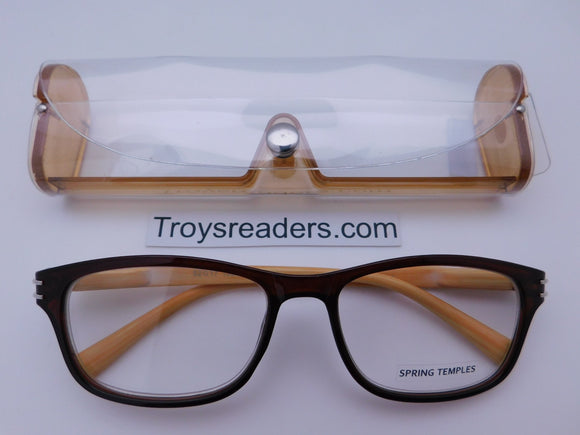 Wood Tone Readers With Case in Five Colors Reader with Display Amber +1.50