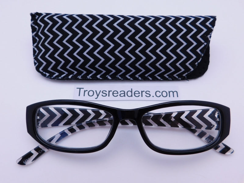 Zig Zag Readers With Case in Five Colors Reader with Display Black +1.25