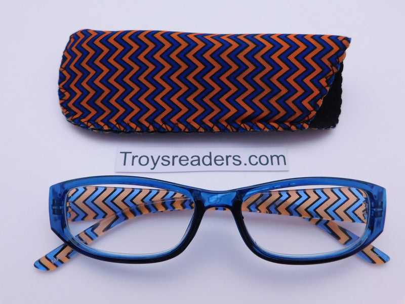 Zig Zag Readers With Case in Five Colors Reader with Display Blue +1.50