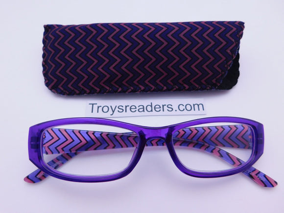 Zig Zag Readers With Case in Five Colors Reader with Display Purple +1.25