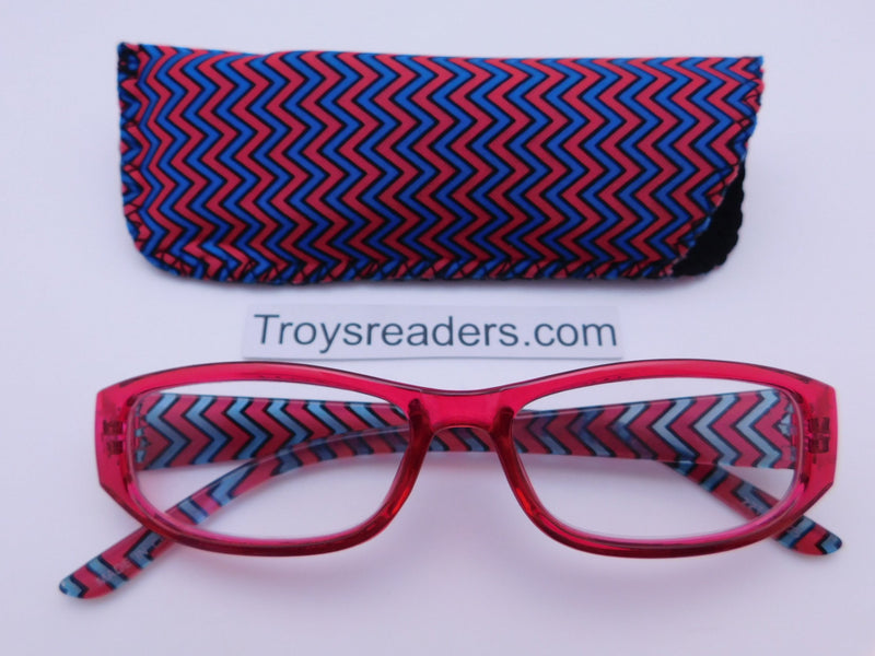 Zig Zag Readers With Case in Five Colors Reader with Display Red +1.00