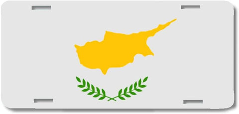 BrownInnovativeMedia Cyprus World Flag Metal License Plate Car Tag Cover