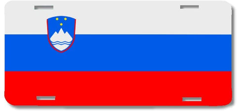 BrownInnovativeMedia Slovenia World Flag Metal License Plate Car Tag Cover
