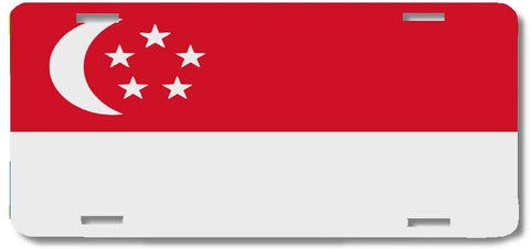 BrownInnovativeMedia Singapore World Flag Metal License Plate Car Tag Cover