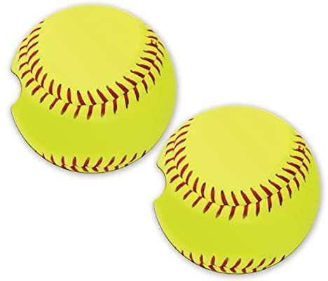 BrownInnovativeMedia Softball Sandstone Car Cup Holder Matching Coaster Set