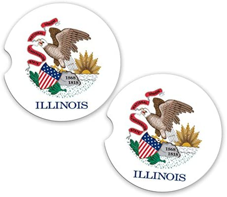 BrownInnovativeMedia Illinois State Flag Custom Car Coasters Cup Holder Matching Coaster Set