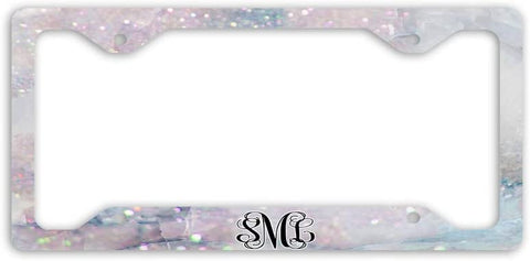 BrownInnovativeMedia Rainbow Marble Glitter Look Print Monogram Personalized Custom Initials License Plate Frame Car Tag
